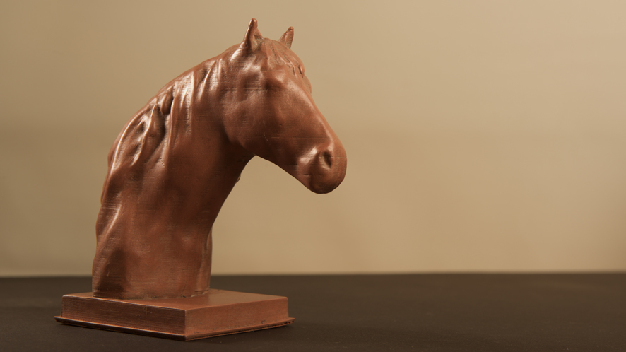 Horse 3D printed in copper
