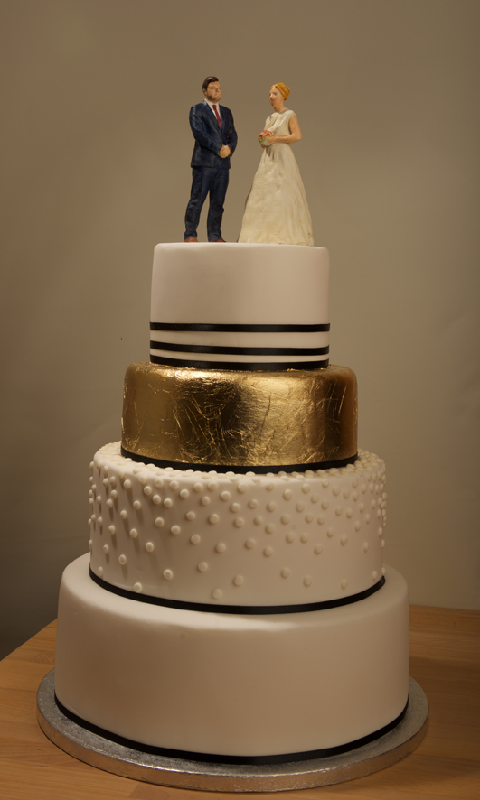 Painted Bride and Groom Wedding Cake Topper
