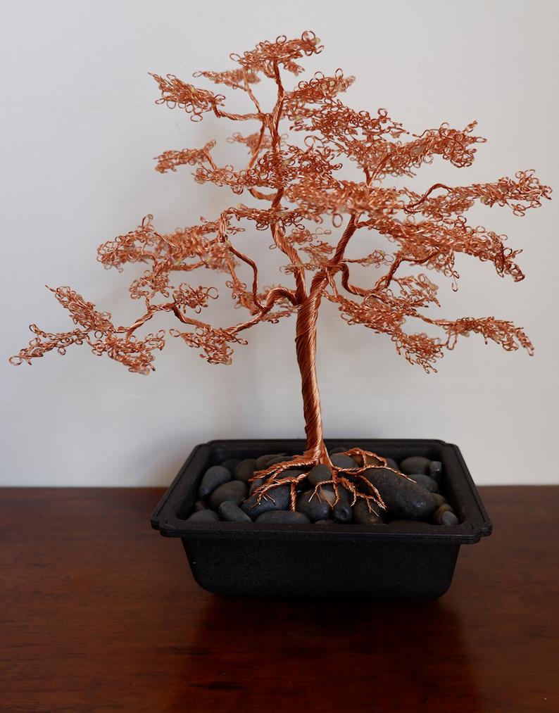Wire copper bonsai tree light