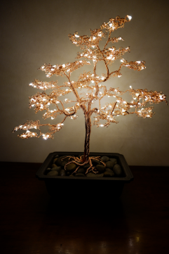 Wire copper bonsai tree light