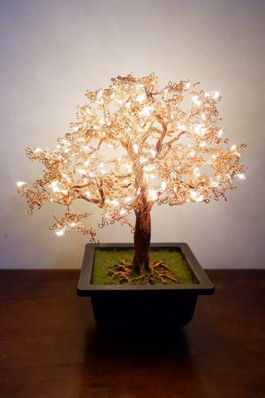Copper wire art bonsai tree light