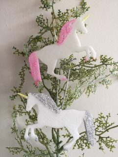 Unicorn Glitter Christmas decoration Glow in the Dark
